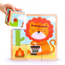 Animal Six Sided Puzzle Building Blocks Wooden Toys For Children Baby 1-2-3-6 Years Old Early Educational Toy цена 2017