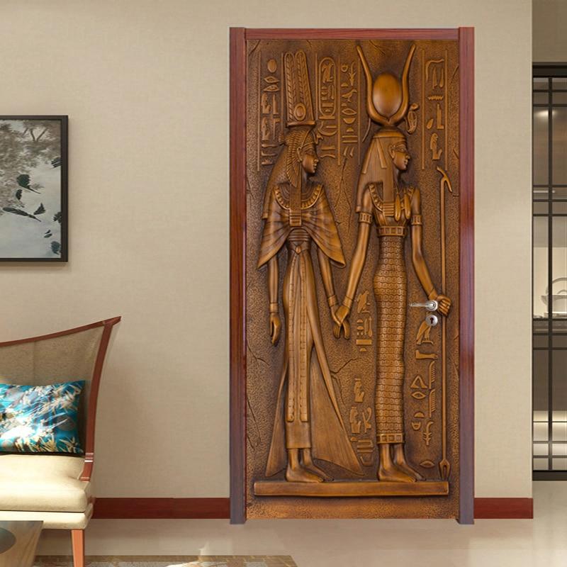 Купить европейский стиль ретро стикер двери 3d египетские скульптурные