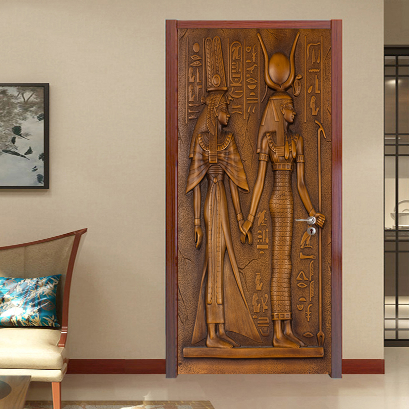 European Style Retro Door Sticker 3D Egyptian Sculpture Wallpaper Living Room Kitchen PVC Waterproof Home Decal Vinyl Door Mural