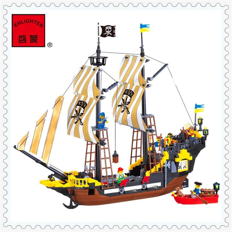 ENLIGHTEN 307 Adventure Pirate Ship Corsair Model Building Block Compatible Legoe 590Pcs   Toys For Children lepin 16002 pirate ship metal beard s sea cow model building kit block 2791pcs bricks compatible with legoe caribbean 70810