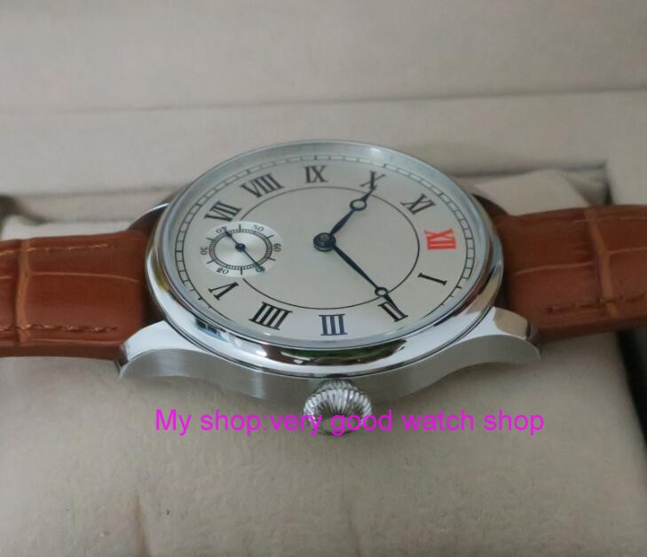44mm PARNIS White dial Asian 6498 Mechanical Hand Wind ...