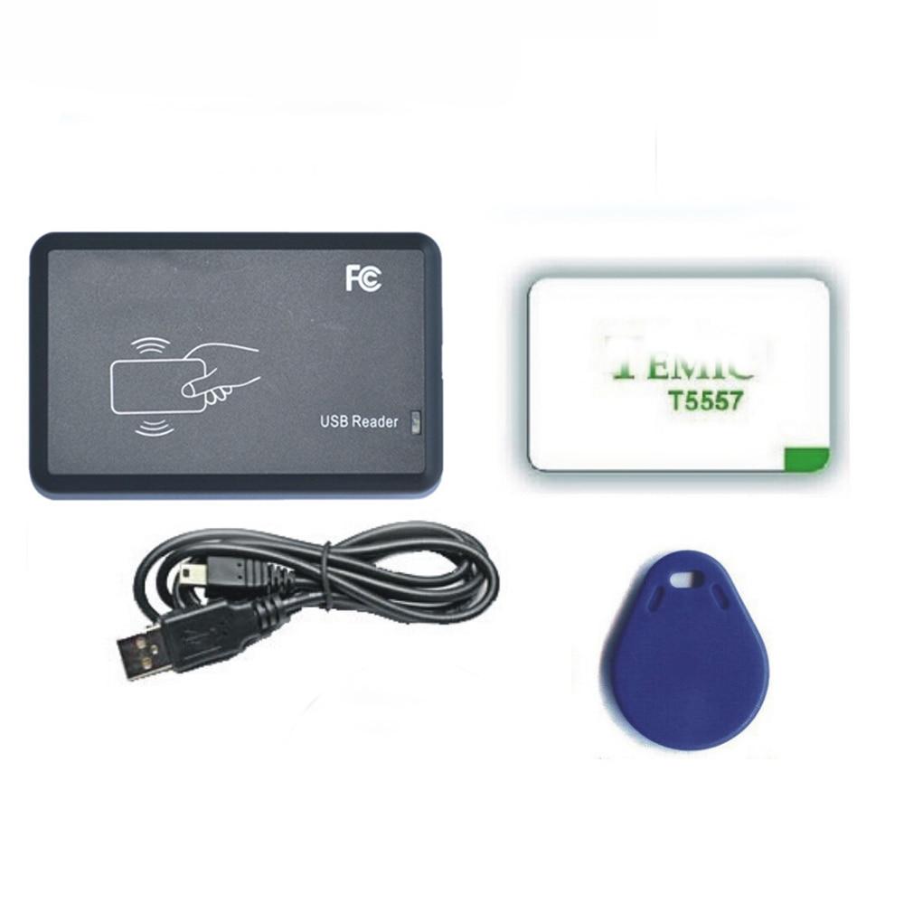 Free shipping 125Khz EM4100 RFID <font><b>copier</b></font> / writer / duplicator(T5557/T5577/EM4305) free 5 Rewritable cards