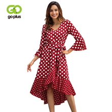 GOPLUS Polka Dot Sashes Chiffon Dress Women Sexy V Neck Flare Sleeve Midi Lady 2019 Spring A-line Elegant Vestidos Female