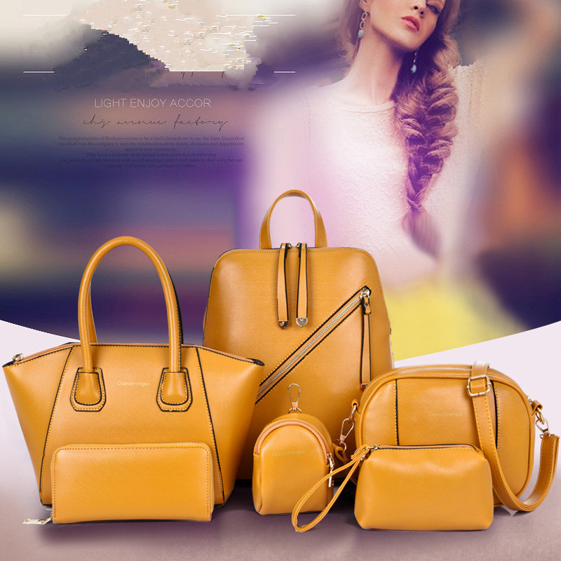 Top-handle Bags Lovely Wxfbbaby New Meet Shipping 6pc Bag For Woman 2019 Luxury Purses And Handbags Occident Style Womens Yellow Magazine Zipper Bags Women's Bags