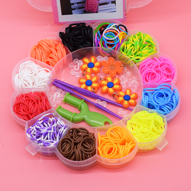 600pcs Diy Colorful Gum Kids Toys Rubber Bands Bracelet Loom For Girl Hair Band Refill Make Woven Bracelets Cute Sunflower Gift
