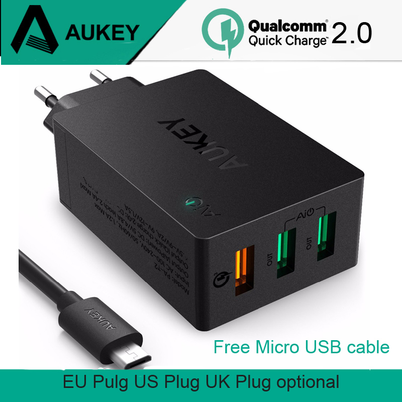 AUKEY Quick Charge 2.0 USB Wall Charger 3 Port USB Smart Fast Turbo Mobile Charger EU US UK Plug for Phone Tablet Power Bank