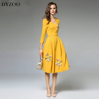 DYZOO Spring Autumn New Fashion Casual Women Dress V Neck Embroidery Dress Elegance Floral High Quality