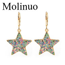 Molinuo 23mm exquisite colorful cubic zirconia star drop earrings charm lovely girl woman dangle 2019 new arrival