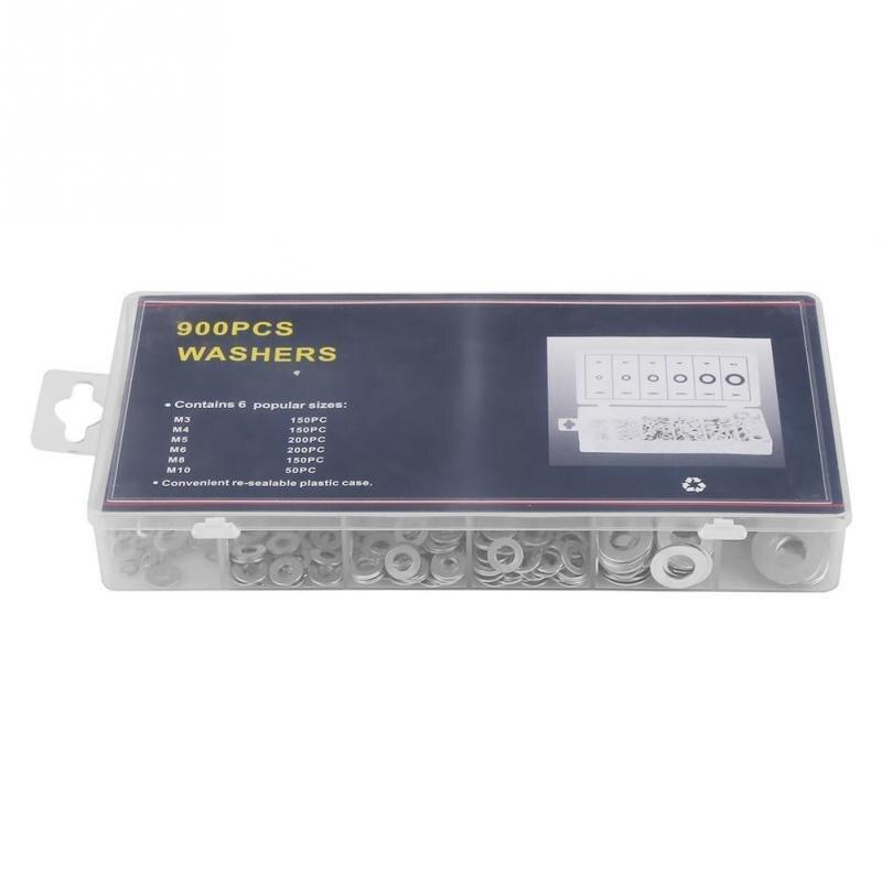 900pcs A3 Steel Flat Washer Plain Washers Gasket Assortment Kit+Storage Box UK