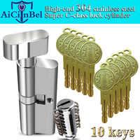 Door cylinder 65 70 75 80 85 90mm Security Copper Lock Cylinder Interior Bedroom Living Security door Handle Brass Key Locking