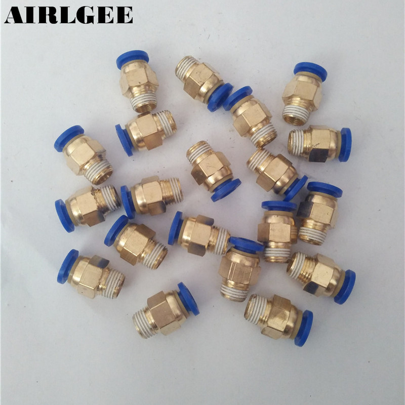 1/8TP Male Thread Quick Connector Pneumatic Air Fittings For 6mm Tube 20Pcs air pneumatic connector 6mm od hose tube push in m5 1 8 1 4pt 3 8 1 2 bspt male thread l shape gas quick joint fittings