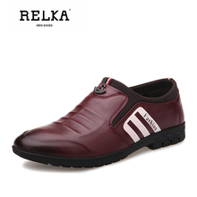 RELKA Vintage Men Casual Shoes High Quality Genuine Leather Round Toe Soft Low Heel Shoes Fashion Men Slip-on Luxury Shoes P7 stylesowner black red genuine leather high heel shoes women slippers peep toe round heel fashion slip on holiday sandal shoes
