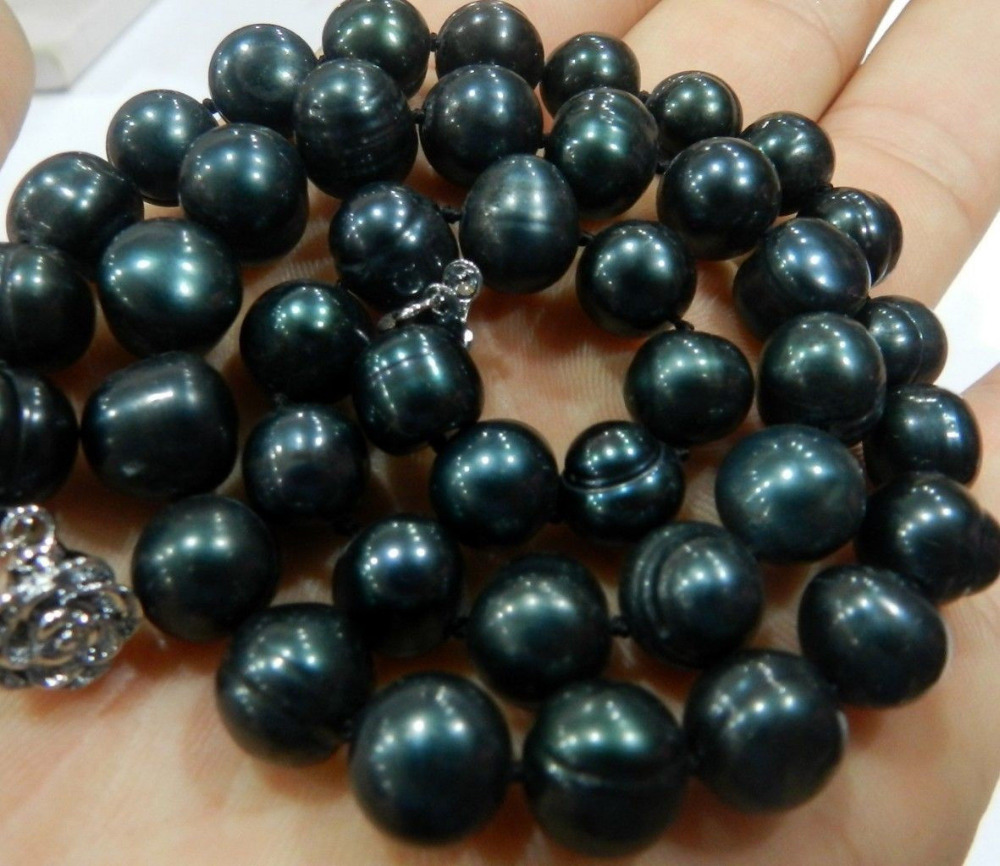 GENUINE 9 10MM BLACK NATURAL TAHITIAN PEARL NECKLACE 28 Discount 5 6
