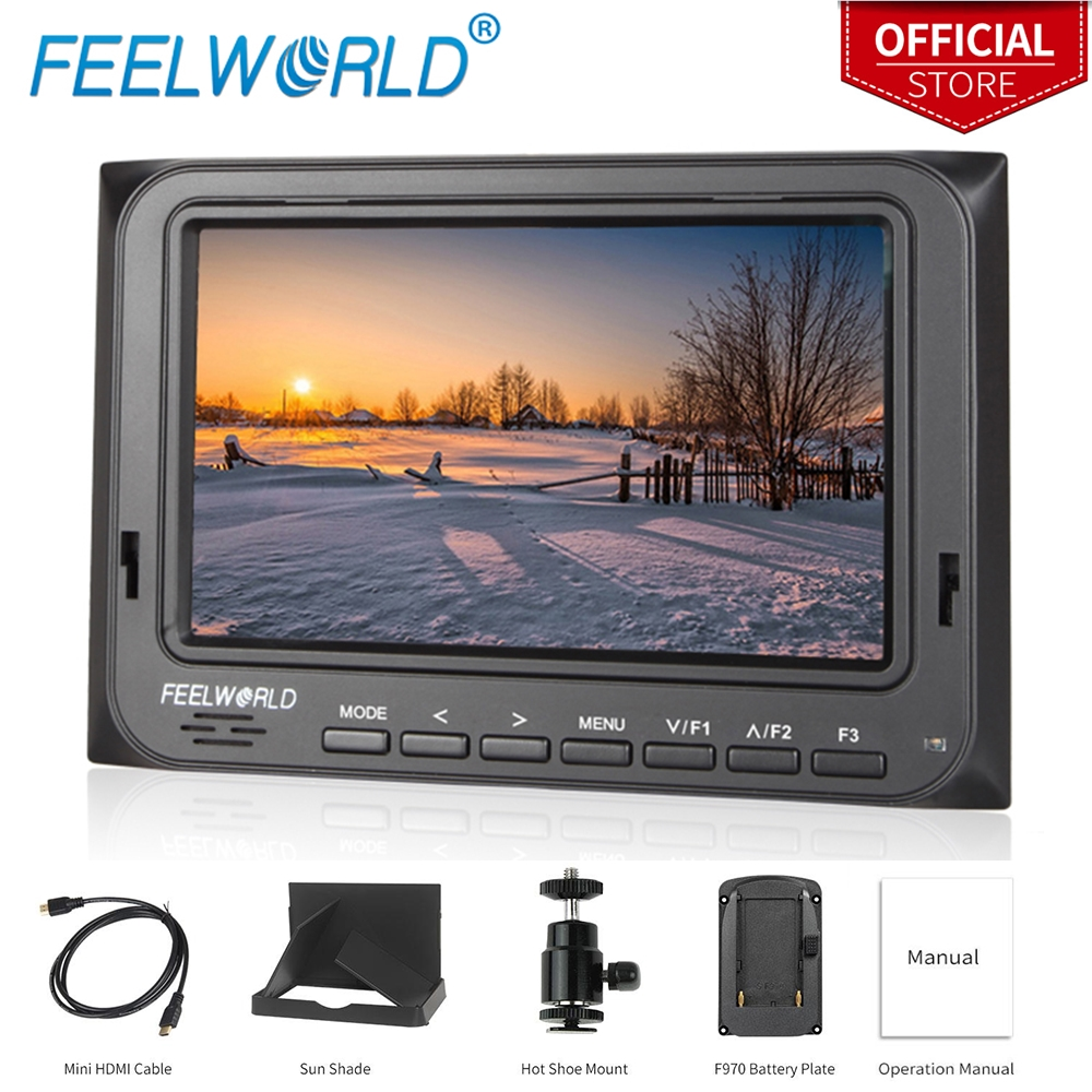 Feelworld Official Store 5.6″ Lightweight 1280×800 Portable Camera-Top Field Monitor with Peaking Focus FW56D/O