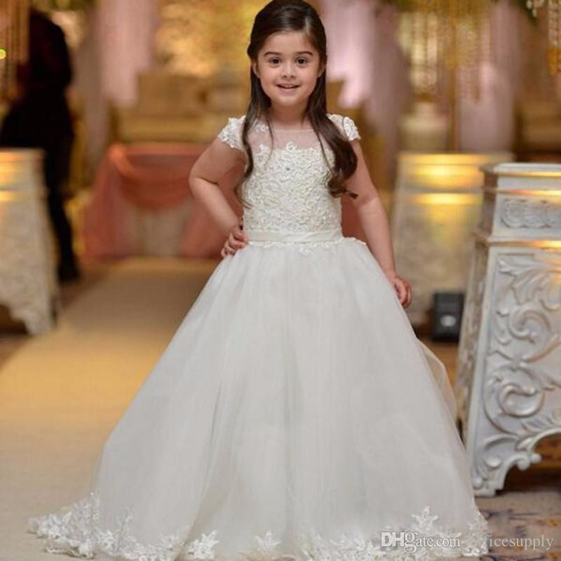 Princess 2018 White   Flower     Girl     Dress   O-Neck Bow Ball Gowns Appliques For Little   Girls   Party pageant   dresses   for   girls   glitz