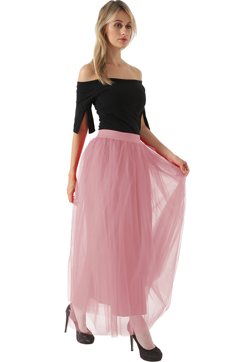4 Layers 100cm Floor length Skirts for Women Elegant High Waist Pleated Tulle Skirt Bridesmaid Ball Gown Bridesmaid Clothing 35