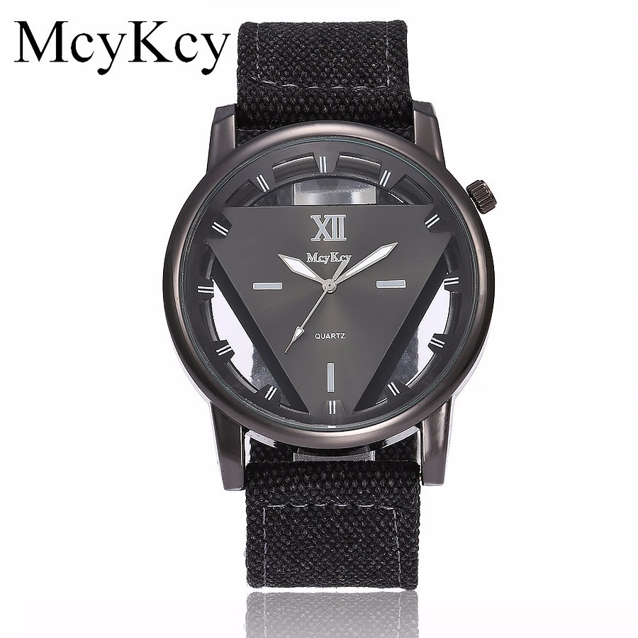 McyKcy Brand Hollow Triangle Watches Men Luxury Army Military Watches Clock Male Quartz Watch Clock Relogio Masculino Hot Sale