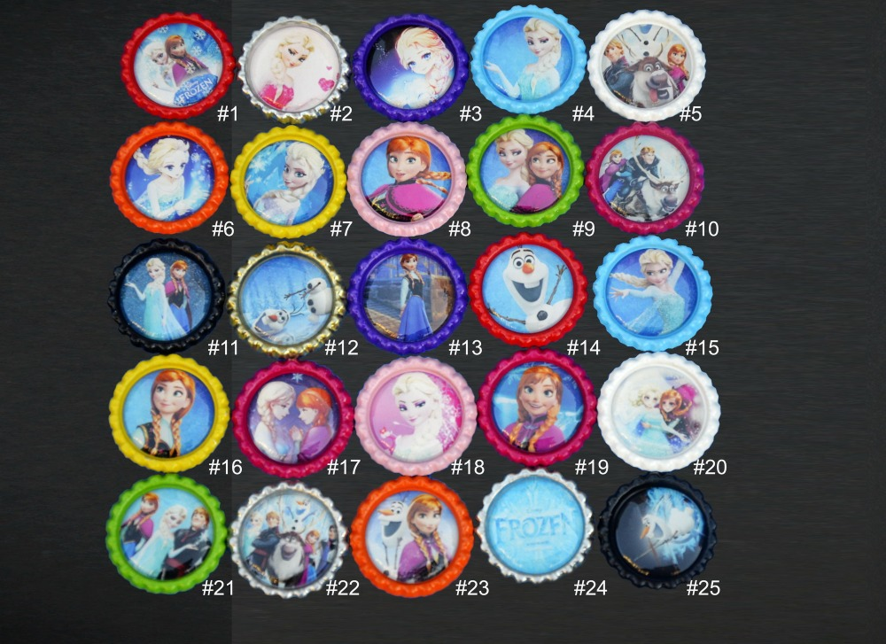 Free shipping 60 pcs 1 inch cartoon flattened bottle caps for Wholesale bottle caps for crafts