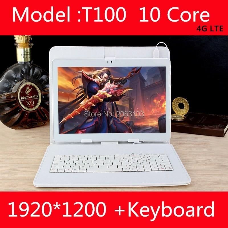 Новые T100 10 дюймов 10 core Планшеты ПК Android 7.0 4 ГБ Оперативная память 128 ГБ Встроенная память 1920*1200 IPS экран 4 г LTE 8.0 МП Камера Бесплатная доставка