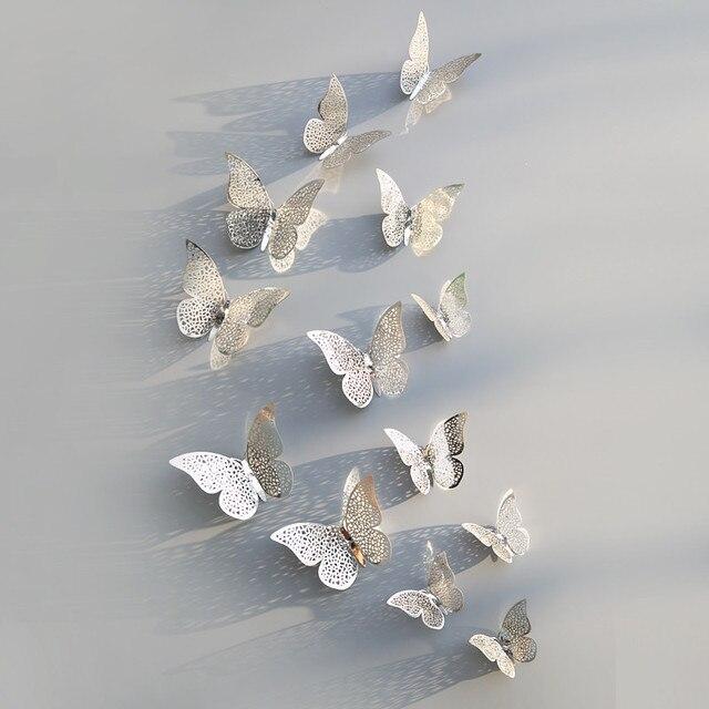 3D Butterfly Metallic 12pcs/lot 6