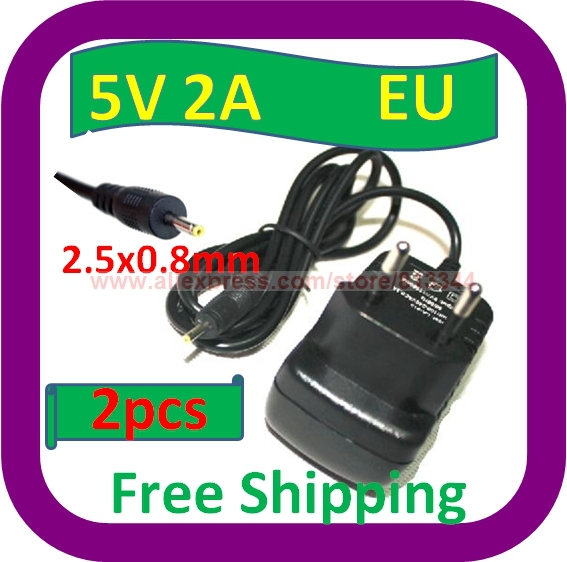 2 pcs Free Shipping 5V 2A EU Plug DC 2.5x0.8mm Charger Power Adapter for Tablet PC Q88 Ainol Venus Flytouch 3