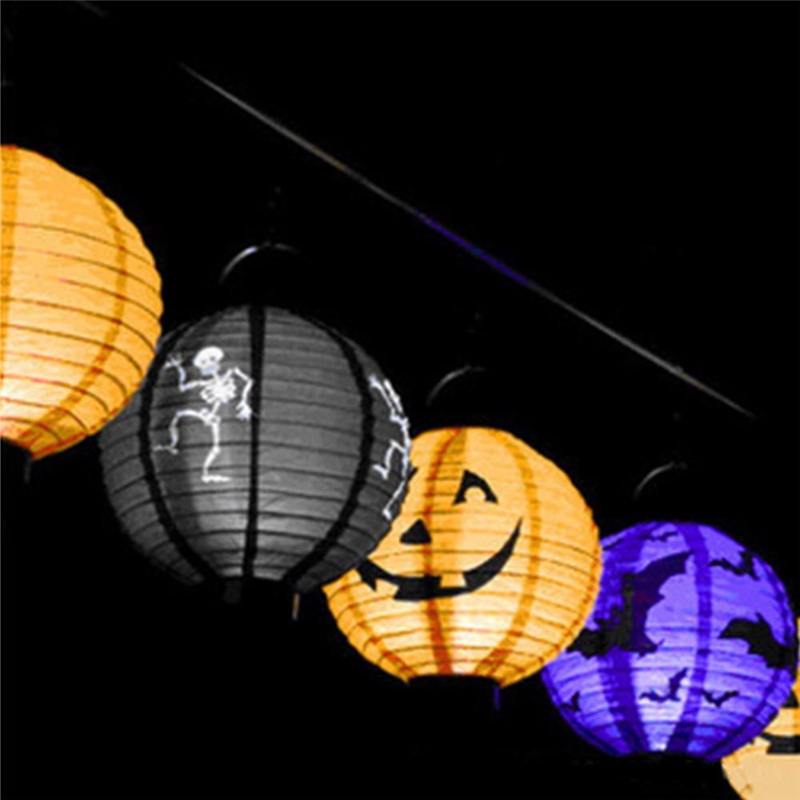 hot sale 1 pcs halloween decoration led paper pumpkin light hanging lantern lamp halloween props outdoor party supplies sale - Halloween Decoration Sales