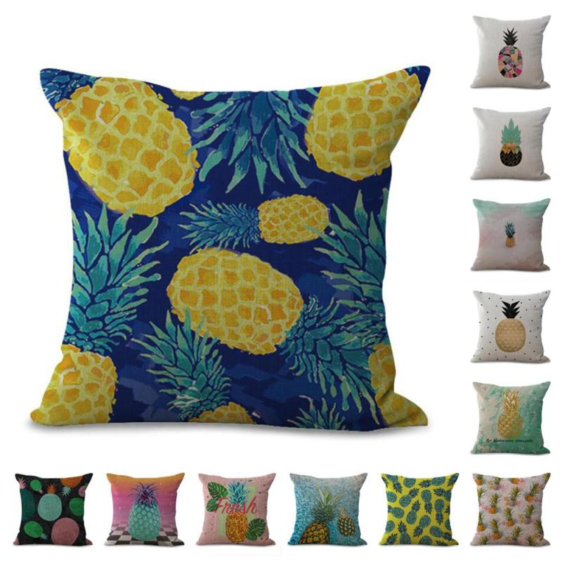 Hand-painted color pineapple printed Cotton Linen Throw Pillow Case Cushion Cover Car Sofa Decorative Pillow Cove Pillowcase 3