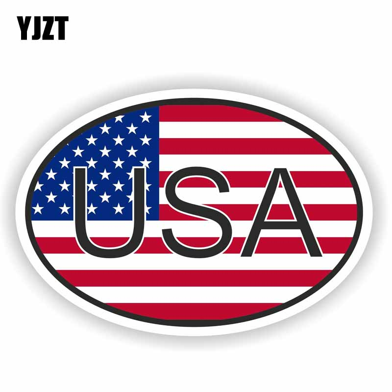 YJZT 12CM*8CM Personality Car Sticker USA COUNTRY CODE OVAL WITH FLAG Decal PVC 6-0197