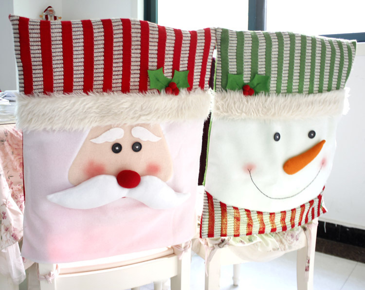 2016 Christmas Santa Snowman Chair Covers Home Decoration Xmas Banquet Dinner Festive Claus Case