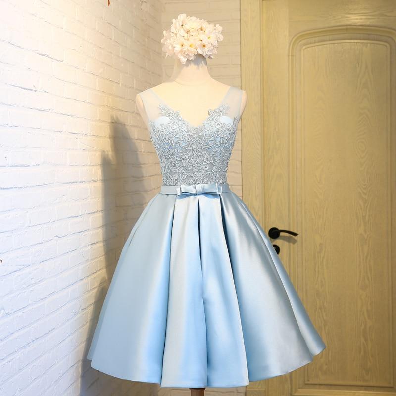 Light Dresses Damas Salient Junior Graduation: Cute Light Blue Short Homecoming Dresses 2017 Cheap V Neck