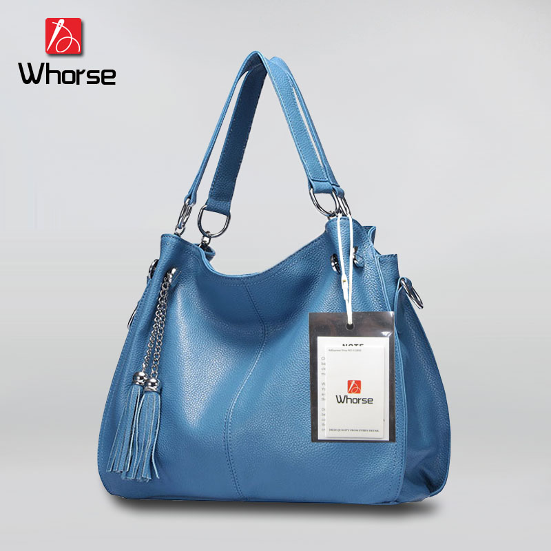 ФОТО [WHORSE] Brand Logo High Quality Genuine Leather Women Messenger Bags Big Shoulder Bag Tassel Large Capacity Tote Cowhide