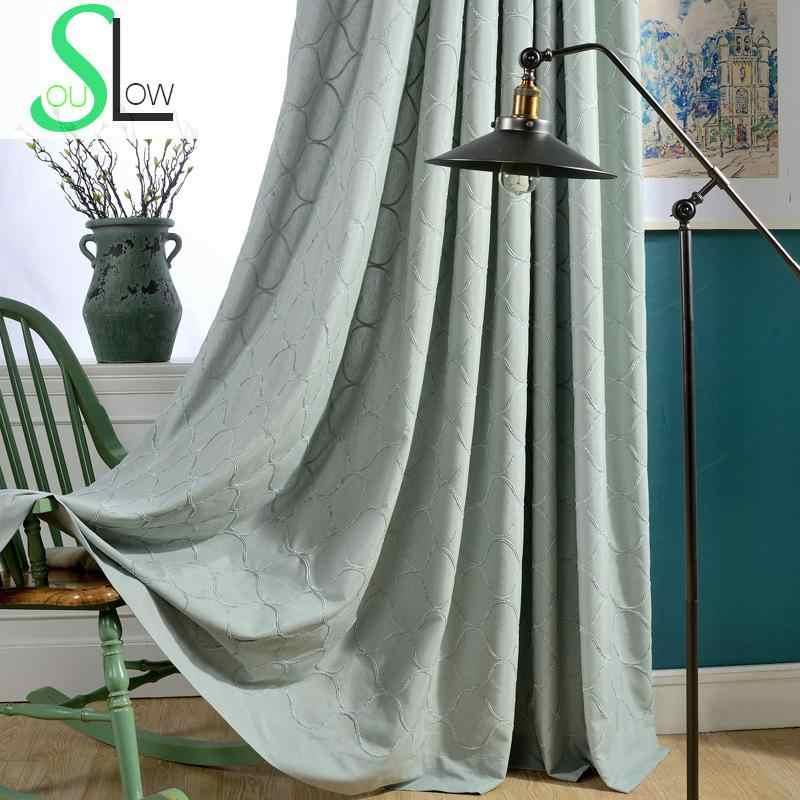 Luxury Velvet Embroidery Curtains Heavy Fabric Window Curtain