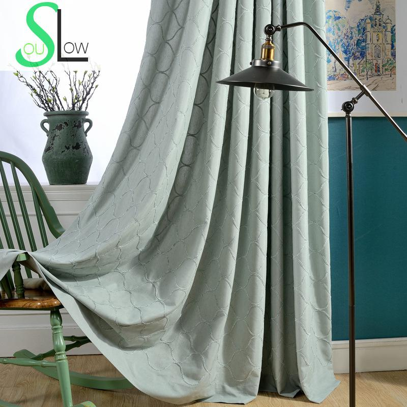 Buy best blue beige rhyme cotton embroidery curtain fabric for Space curtain fabric