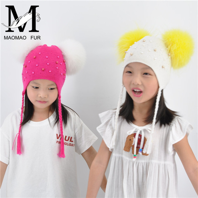 Kids Warm Winter Caps Double Fur Pom Pom Beanie Wool Knitted Hat For Baby Boys Girls Real Raccoon Fur Balls Beanie Cap Bonnet