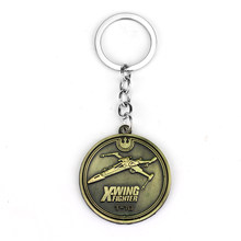 dongsheng Movie Jewelry star wars keyrings round coin X-wing fighter metal keychains key ring gift for men -50(China)