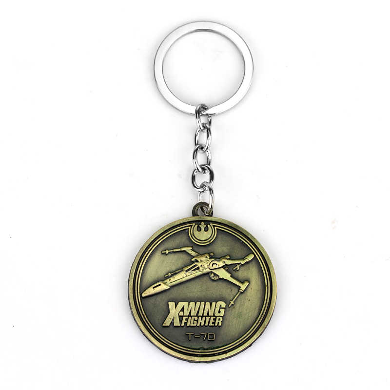 ตงเฉิงเครื่องประดับภาพยนตร์s tar w ars keyringsรอบเหรียญX-wing fighterพวงกุญแจโลหะพวงกุญแจของขวัญสำหรับผู้ชาย-50