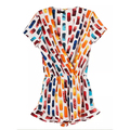 New Brand 2016 Casual Colorful Print Chiffon Women Jumpsuit Shorts Summer Short Sleeve V Neck Ladies Siamese Trousers