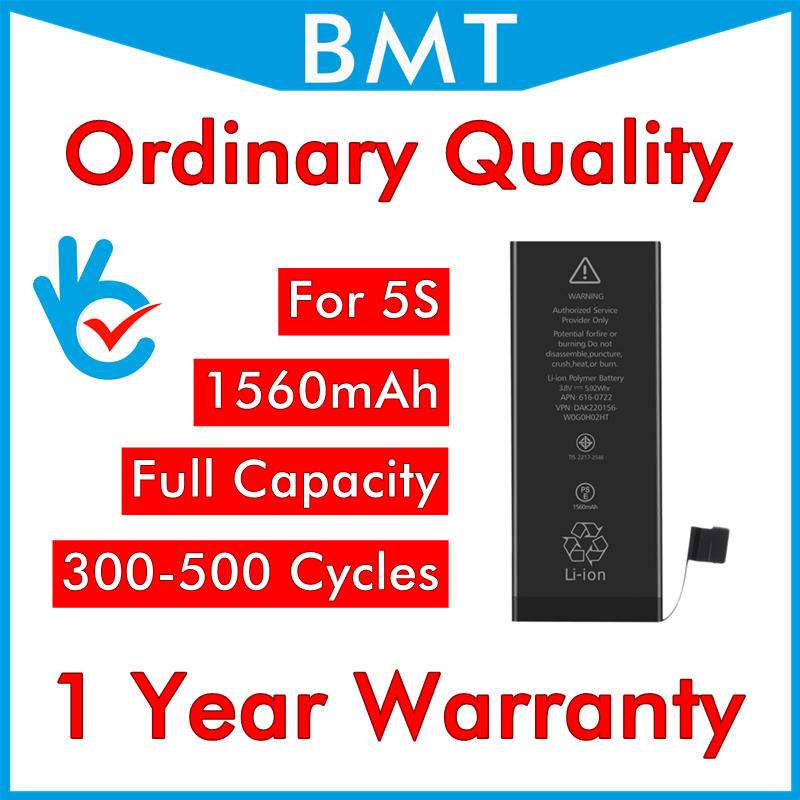 BMT 10pcs/lot Ordinary Quality Full capacity 1560mAh 3.7V Battery for iPhone 5S 0 zero cycle replacement repair parts BMTI5SOQ