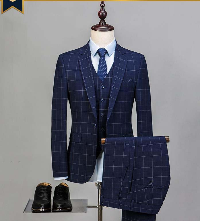 3pcs Suit British Plaid Formal Wear Business Suits Groom Dress Party Suit Tuxedos Blazer Set (Jacke+pants+vest)
