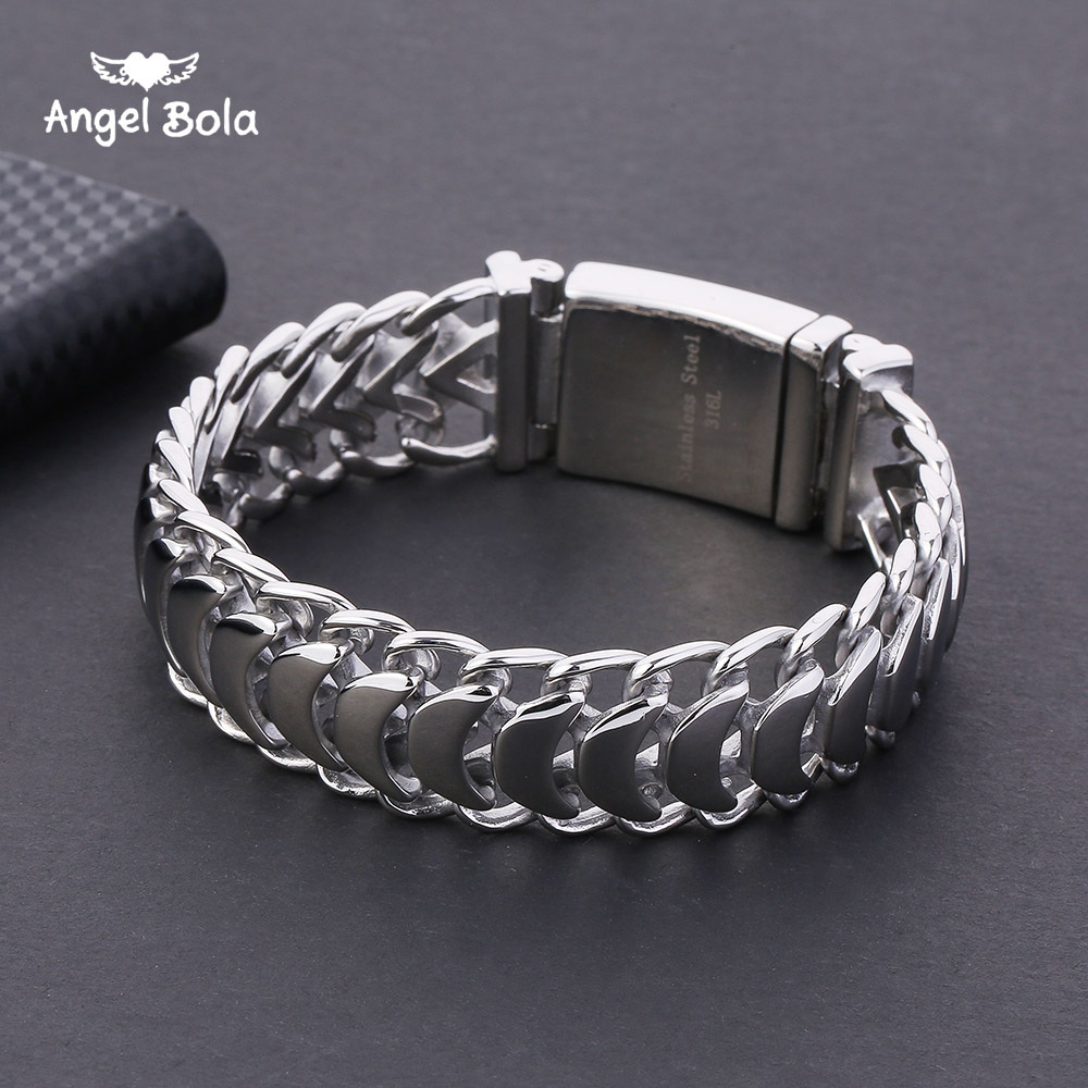 316L Stainless Steel Wristband Male Jewelry with Logo Buddha Bracelet 20mm Heavy Men's Curb Cuban Link Silver Color