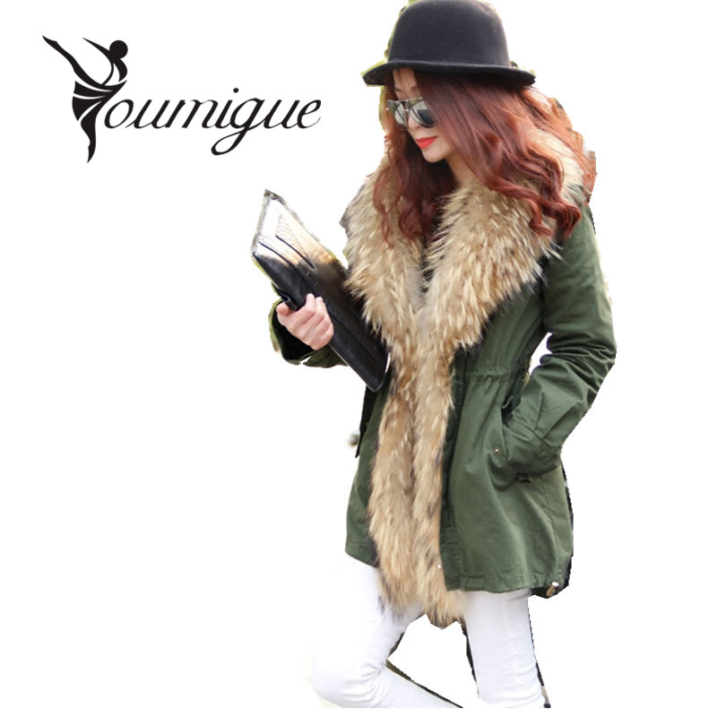 YOUMIGUE New long Khaki  Dovetail winter jacket women outwear thick parkas natural real raccoon fur collar coat hooded pelliccia plus size 2017 women outwear long camouflage winter jacket thick parkas raccoon natural real fur collar coat hooded pelliccia
