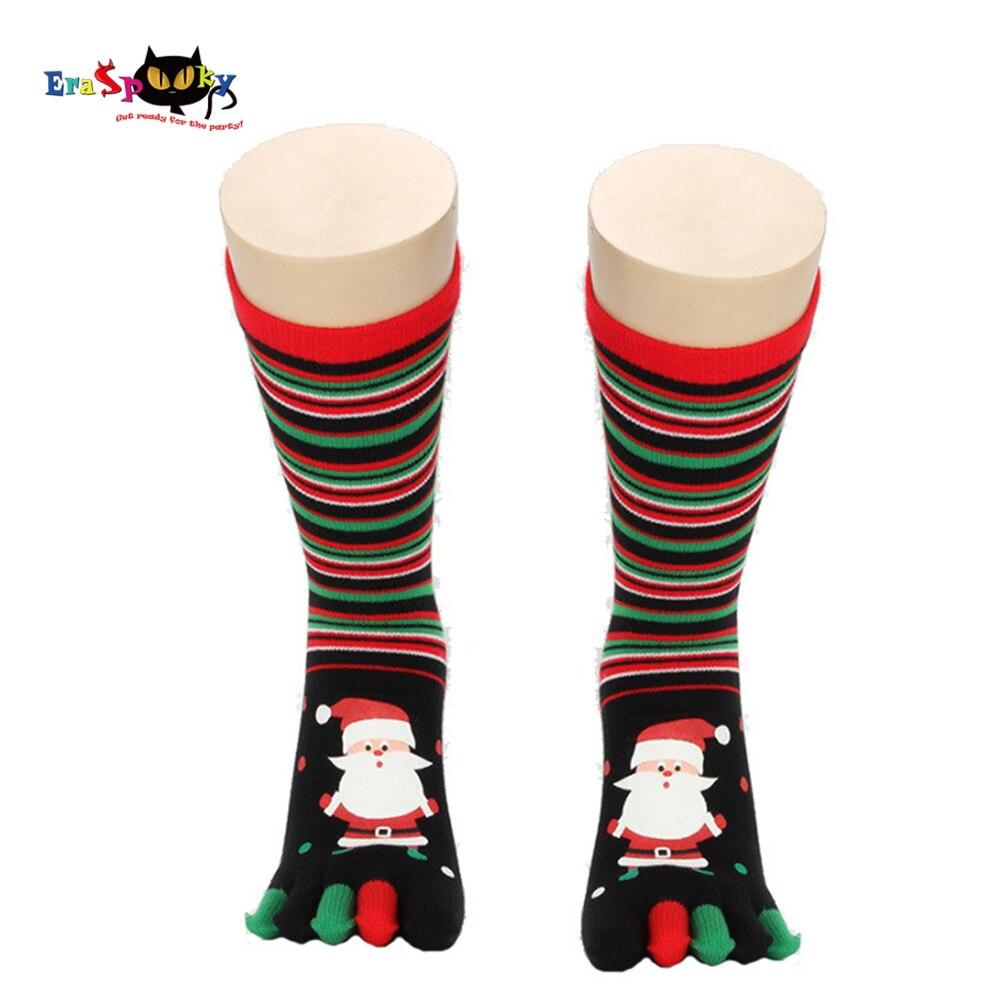 Eraspooky 2018 Winter unisex Christmas socks for adult santa claus socks Costumes long toe socks five fingers Snowman Gift
