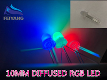 250PCS 10mm Full colors Diffused RGB LED Common Cathode 20mA 3 Colors Red Green Blue 4 Pin 10 mm Light Emitting Diode LED Lamp