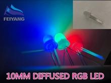 250PCS 10mm מלא צבעים מפוזר RGB LED קתודה משותפת 20mA 3 צבעים אדום ירוק כחול 4 פינים 10mm אור דיודה LED מנורה