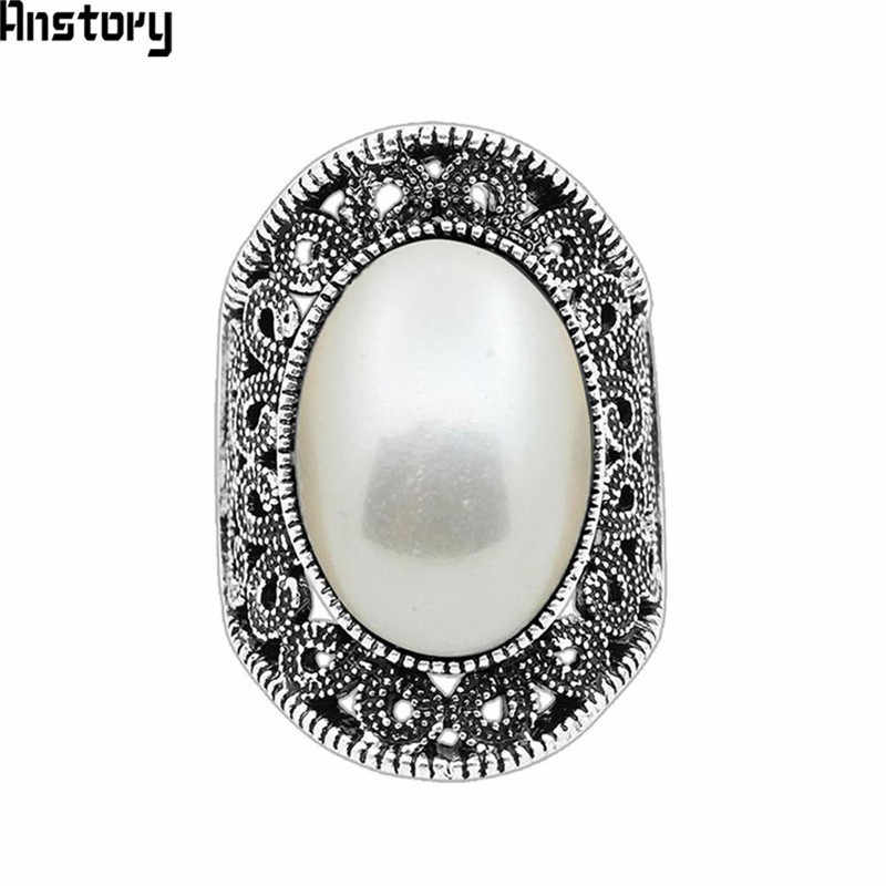 Oval Pearl Rings For Women Vintage Hollow Flower Rings Antique Silver Plated Wedding Party Rings Fashion Jewelry