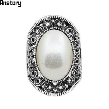 Oval Anillos de Perlas Para Las Mujeres de La Vendimia Hueco de La Flor Anillos Plateados Plata Antigua Anillos de Joyería de Moda Del Banquete de Boda