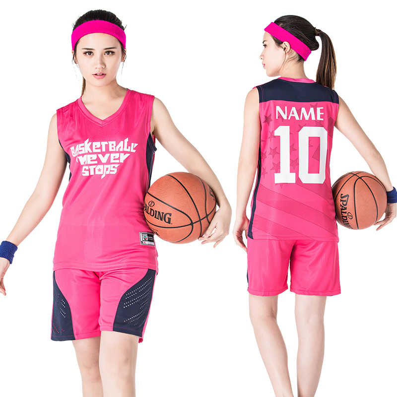 10Colors Set Custom LOGO Number Basketball Jersey & Shorts 2PCS Women Suit Sportswear S~3XLNew Uniforms Female Student Clothes