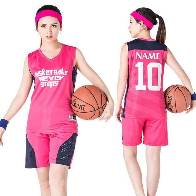 9ef20d9455 LOGOTIPO personalizado Número Basketball Jersey   Shorts 2 pcs Set Mulheres Terno  Sportswear Sem Mangas S