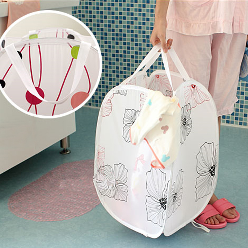 2pcs/lot Printing Laundry Basket Collapsible Dirty Clothes Storage Basket Large Printed Hamper Home Cleaning Storage Essentials