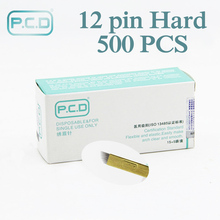Оптовая продажа 500 шт. иглы для микроблейдинга 12 контактов pcd Lamina Tebori 12 твердых гибких микроблейдинга 12 зубцов плоские товары для перманентного макияжа